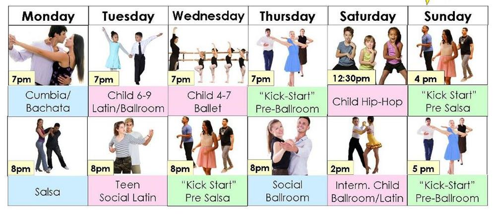 Group dance classes in August